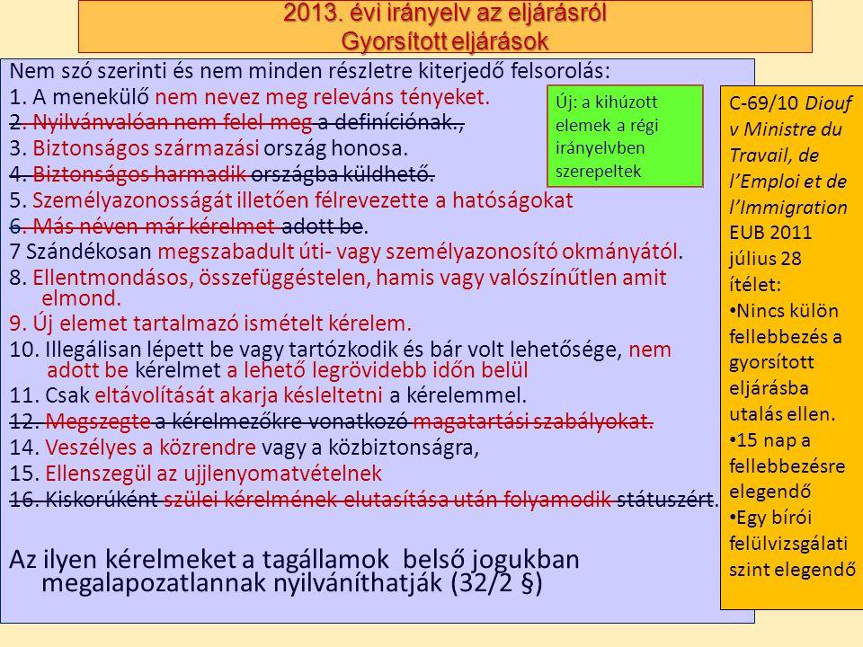 2013. évi irányelv az eljárásról Gyorsított eljárások Nem szó szerinti és nem minden részletre kiterjedő felsorolás: 1. A menekülő nem nevez meg relev
