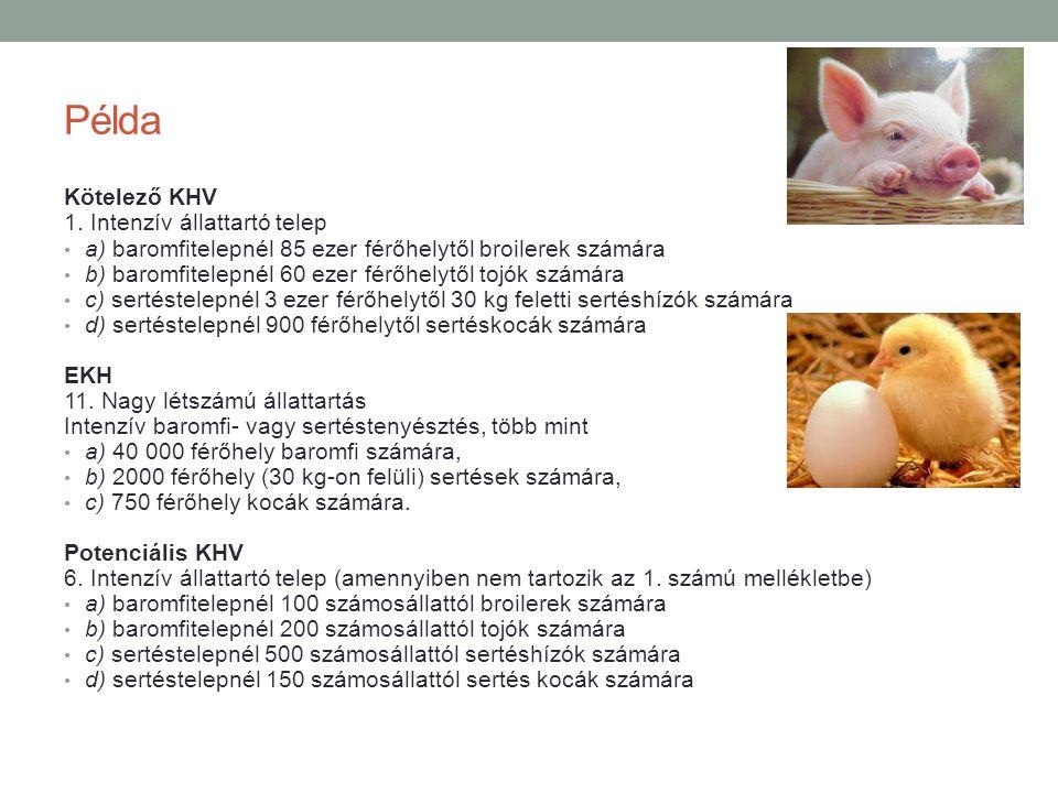 Példa Kötelező KHV 1. Intenzív állattartó telep a) baromfitelepnél 85 ezer férőhelytől broilerek számára b) baromfitelepnél 60 ezer férőhelytől tojók