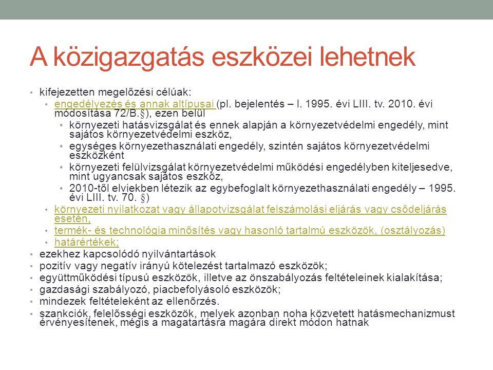 A közigazgatás eszközei lehetnek kifejezetten megelőzési célúak: engedélyezés és annak altípusai (pl. bejelentés – l. 1995. évi LIII. tv. 2010. évi mó
