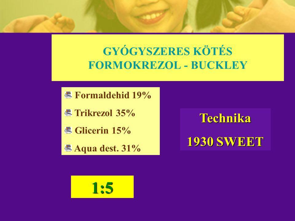 GYÓGYSZERES KÖTÉS FORMOKREZOL - BUCKLEY Formaldehid 19% Trikrezol 35% Glicerin 15% Aqua dest. 31% 1:5 Technika 1930 SWEET