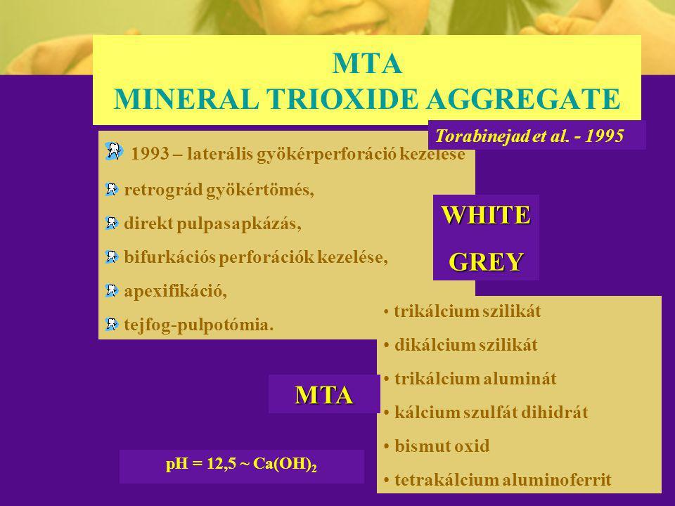 MTA MINERAL TRIOXIDE AGGREGATE 1993 – laterális gyökérperforáció kezelése retrográd gyökértömés, direkt pulpasapkázás, bifurkációs perforációk kezelés
