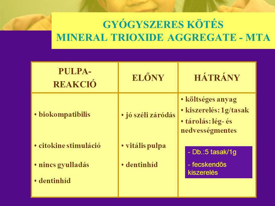 GYÓGYSZERES KÖTÉS MINERAL TRIOXIDE AGGREGATE - MTA PULPA- REAKCIÓ ELŐNYHÁTRÁNY biokompatibilis jó széli záródás költséges anyag kiszerelés: 1g/tasak t