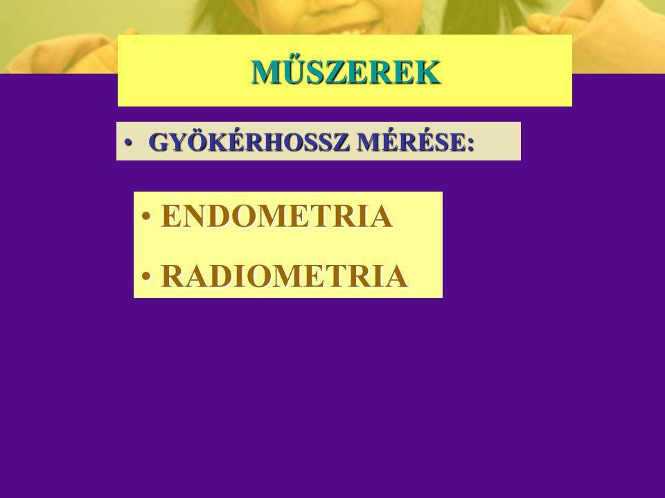 MŰSZEREK GYÖKÉRHOSSZ MÉRÉSE:GYÖKÉRHOSSZ MÉRÉSE: ENDOMETRIA ENDOMETRIA RADIOMETRIA RADIOMETRIA