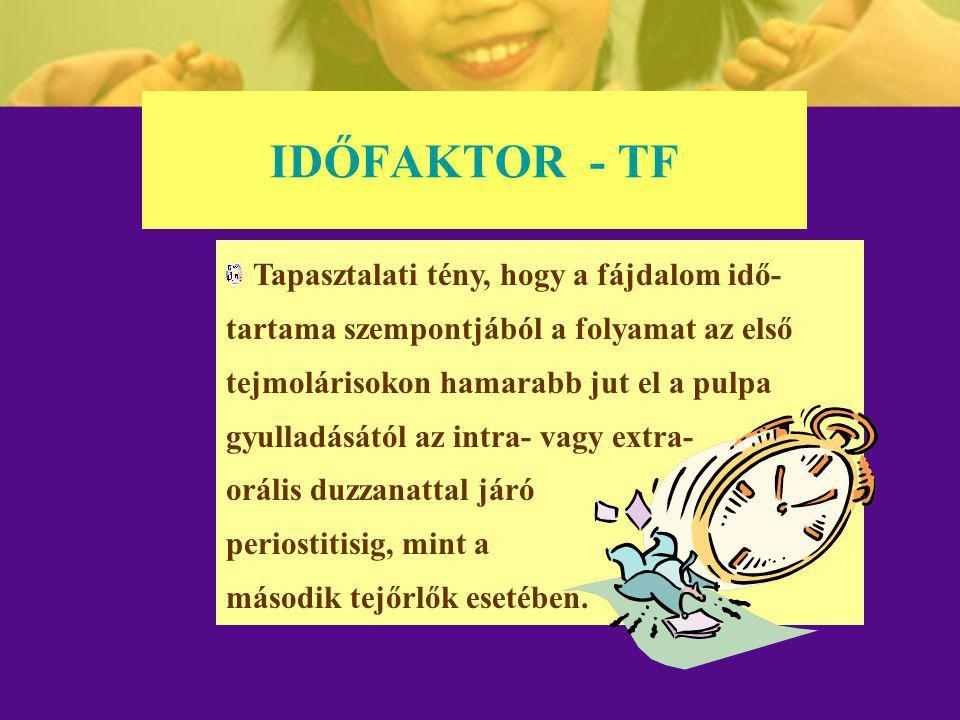 IDŐFAKTOR - TF Tapasztalati tény, hogy a fájdalom idő- tartama szempontjából a folyamat az első tejmolárisokon hamarabb jut el a pulpa gyulladásától a