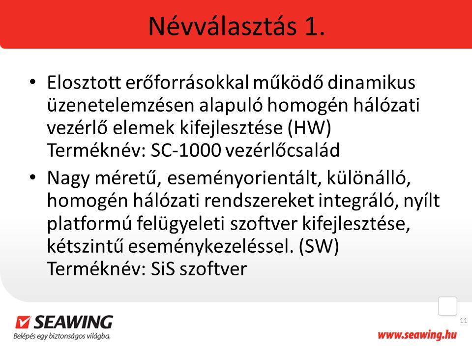 Névválasztás 1. Elosztott erőforrásokkal működő dinamikus üzenetelemzésen alapuló homogén hálózati vezérlő elemek kifejlesztése (HW) Terméknév: SC-100