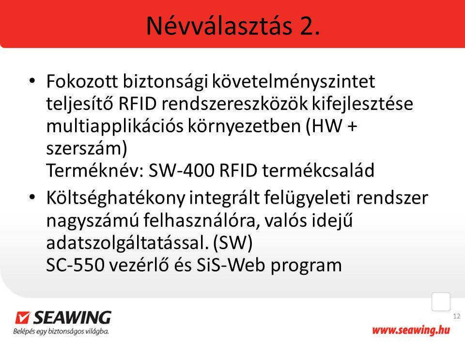 Névválasztás 2. Fokozott biztonsági követelményszintet teljesítő RFID rendszereszközök kifejlesztése multiapplikációs környezetben (HW + szerszám) Ter