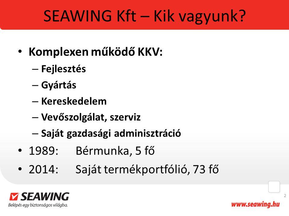 SEAWING Kft – Kik vagyunk? Komplexen működő KKV: – Fejlesztés – Gyártás – Kereskedelem – Vevőszolgálat, szerviz – Saját gazdasági adminisztráció 1989: