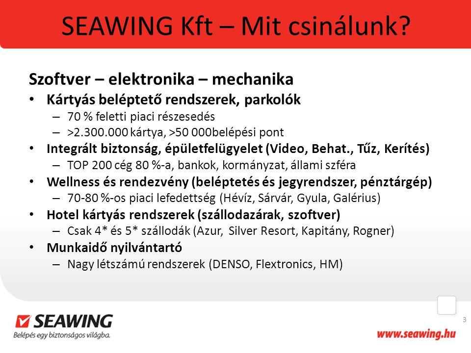 SEAWING Kft – Mit csinálunk? Szoftver – elektronika – mechanika Kártyás beléptető rendszerek, parkolók – 70 % feletti piaci részesedés – >2.300.000 ká
