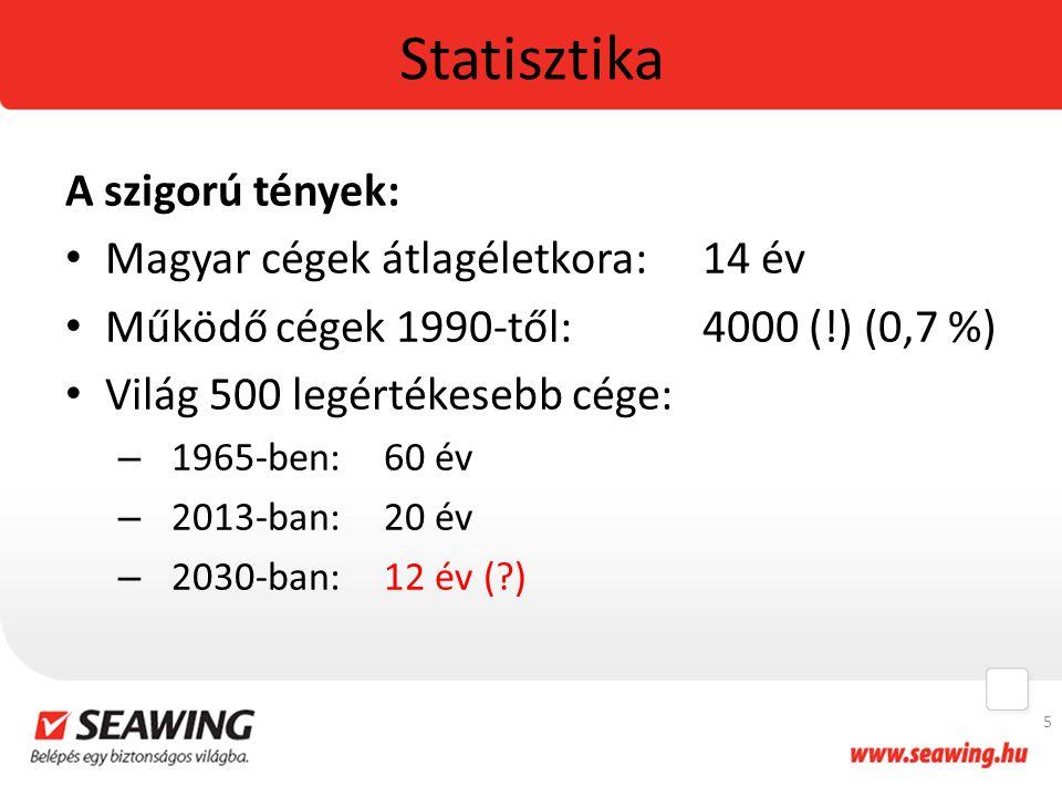 Statisztika A szigorú tények: Magyar cégek átlagéletkora:14 év Működő cégek 1990-től:4000 (!) (0,7 %) Világ 500 legértékesebb cége: – 1965-ben:60 év – 2013-ban:20 év – 2030-ban:12 év (?) 5