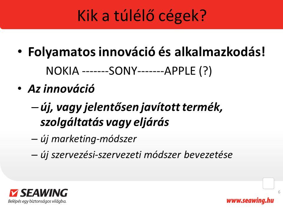 Kik a túlélő cégek? Folyamatos innováció és alkalmazkodás! NOKIA -------SONY-------APPLE (?) Az innováció – új, vagy jelentősen javított termék, szolg