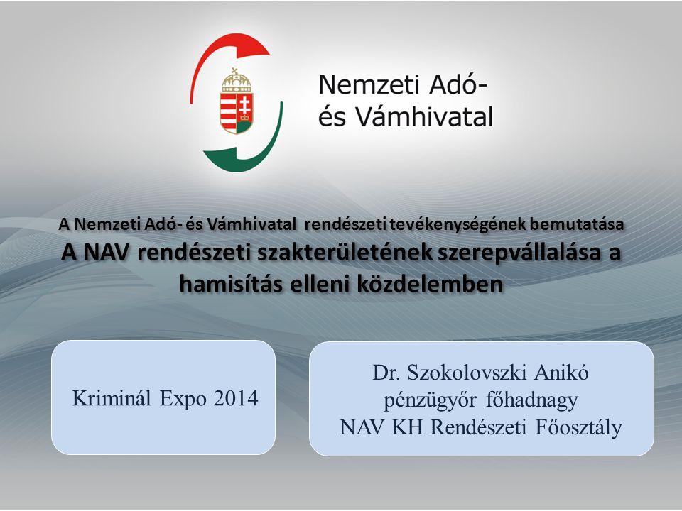A Nemzeti Adó- és Vámhivatal rendészeti tevékenységének bemutatása A NAV rendészeti szakterületének szerepvállalása a hamisítás elleni közdelemben Dr.