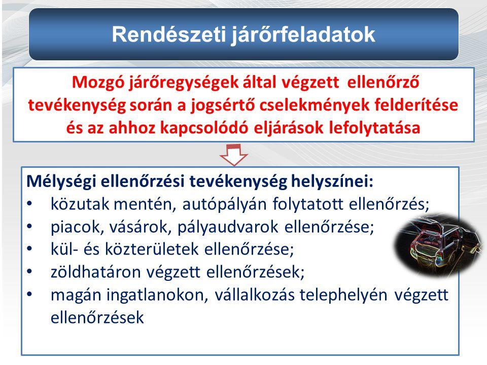 Mélységi ellenőrzési tevékenység helyszínei: közutak mentén, autópályán folytatott ellenőrzés; piacok, vásárok, pályaudvarok ellenőrzése; kül- és közt