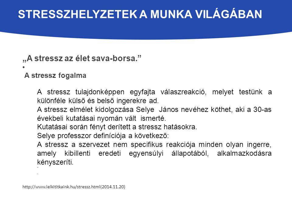 """STRESSZHELYZETEK A MUNKA VILÁGÁBAN """"A stressz az élet sava-borsa. A stressz fogalma A stressz tulajdonképpen egyfajta válaszreakció, melyet testünk a különféle külső és belső ingerekre ad."""