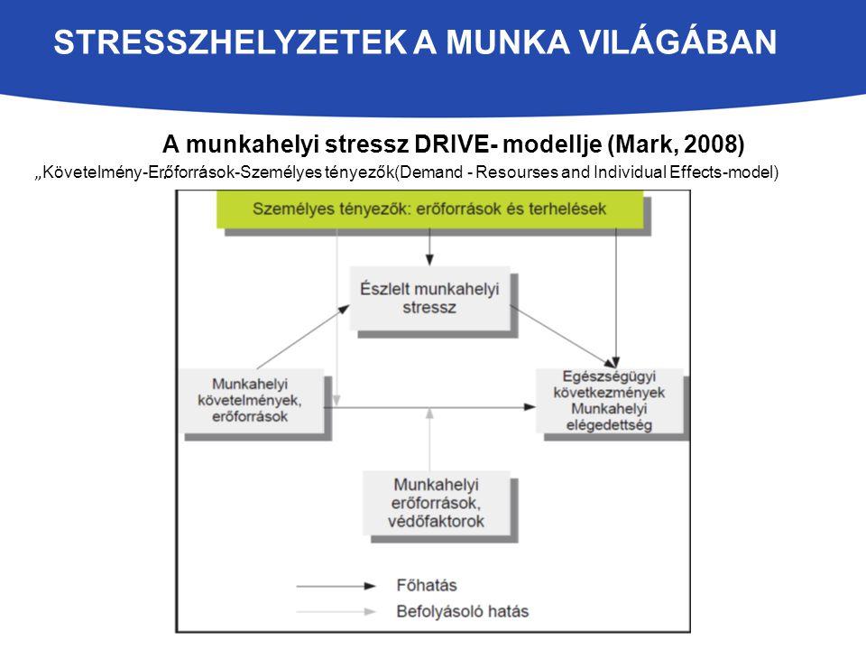 """A munkahelyi stressz DRIVE- modellje (Mark, 2008). """" Követelmény-Erőforrások-Személyes tényezők(Demand - Resourses and Individual Effects-model) STRES"""
