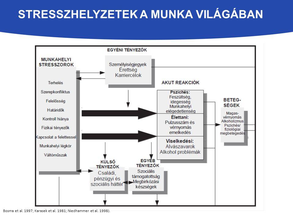Bosma et al. 1997; Karasek et al. 1981; Niedhammer et al. 1998). STRESSZHELYZETEK A MUNKA VILÁGÁBAN