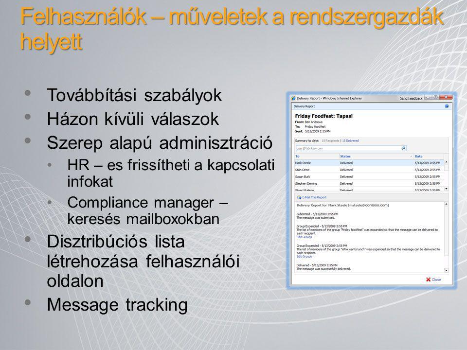 Továbbítási szabályok Házon kívüli válaszok Szerep alapú adminisztráció HR – es frissítheti a kapcsolati infokat Compliance manager – keresés mailboxo