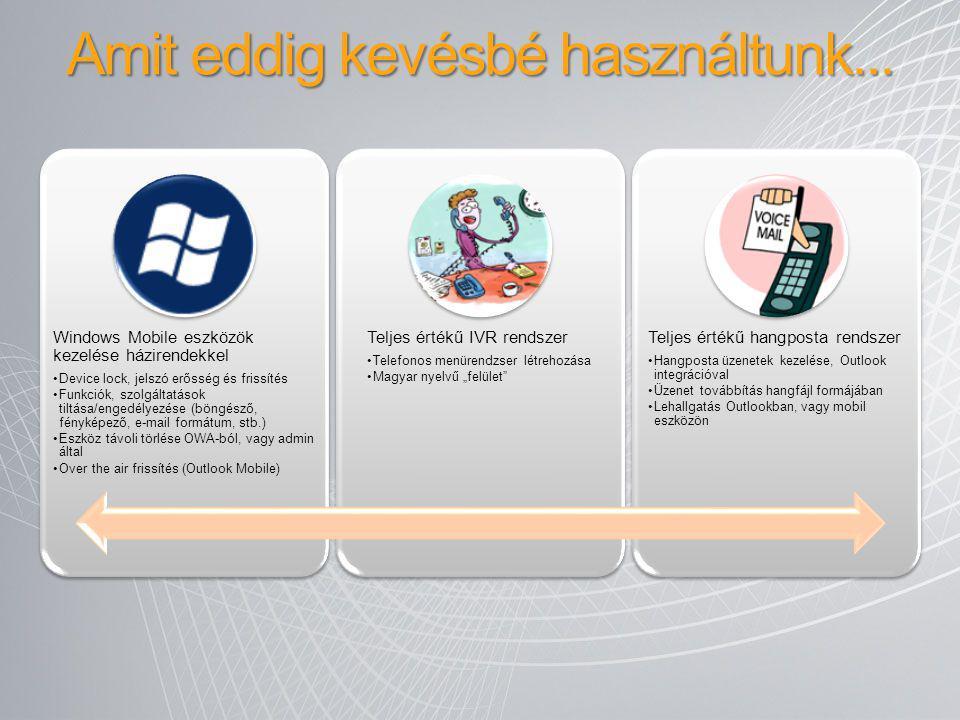 Amit eddig kevésbé használtunk... Windows Mobile eszközök kezelése házirendekkel Device lock, jelszó erősség és frissítés Funkciók, szolgáltatások til