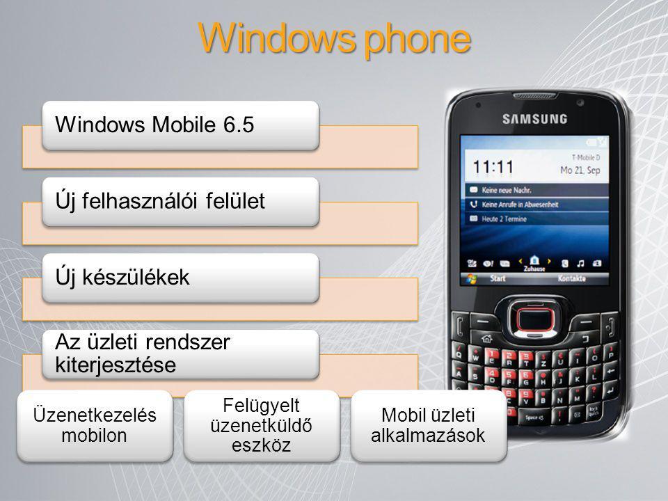 Windows phone Windows Mobile 6.5Új felhasználói felületÚj készülékek Az üzleti rendszer kiterjesztése Üzenetkezelés mobilon Felügyelt üzenetküldő eszk