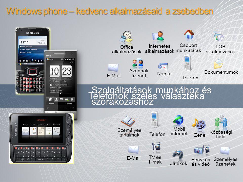 Windows phone – kedvenc alkalmazásaid a zsebedben E-Mail Office alkalmazások Mobil internet Személyes tartalmak Telefon Személyes üzenetek Közösségi h