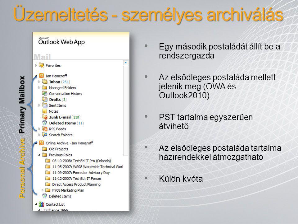 Egy második postaládát állít be a rendszergazda Az elsődleges postaláda mellett jelenik meg (OWA és Outlook2010) PST tartalma egyszerűen átvihető Az e