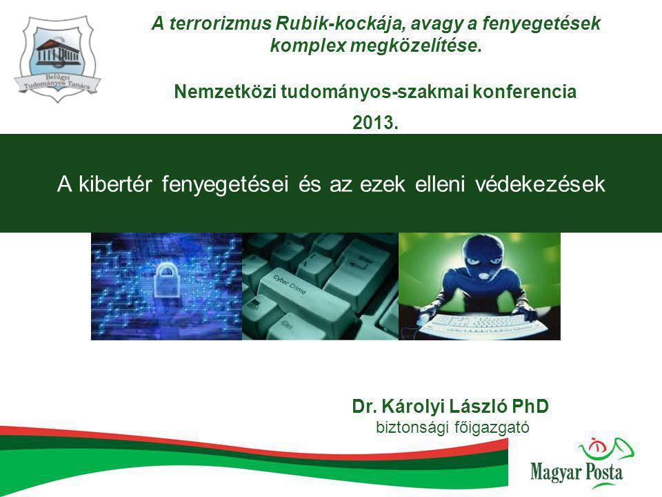 A kibertér fenyegetései és az ezek elleni védekezések Dr. Károlyi László PhD biztonsági főigazgató A terrorizmus Rubik-kockája, avagy a fenyegetések k