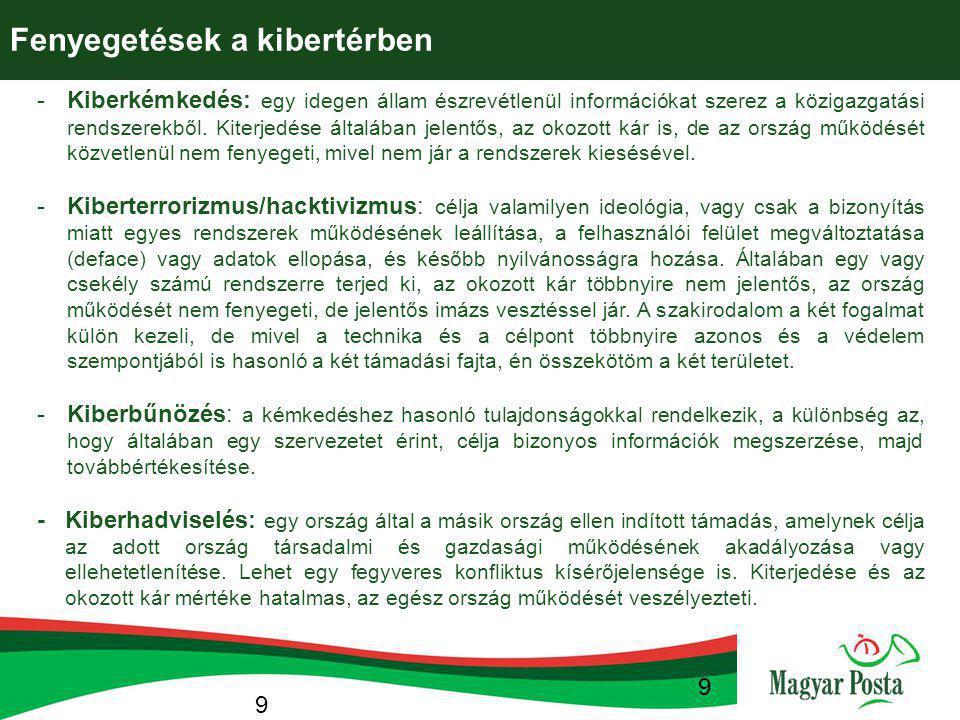 9 -Kiberkémkedés: egy idegen állam észrevétlenül információkat szerez a közigazgatási rendszerekből. Kiterjedése általában jelentős, az okozott kár is