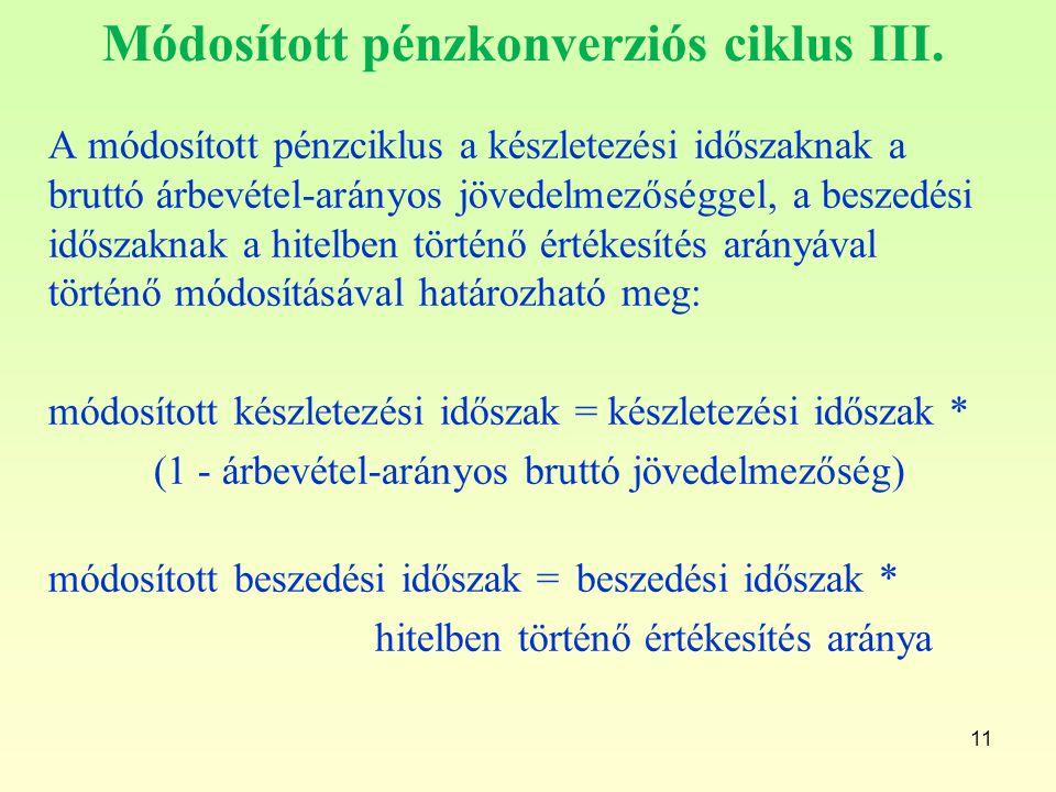 11 Módosított pénzkonverziós ciklus III. A módosított pénzciklus a készletezési időszaknak a bruttó árbevétel-arányos jövedelmezőséggel, a beszedési i
