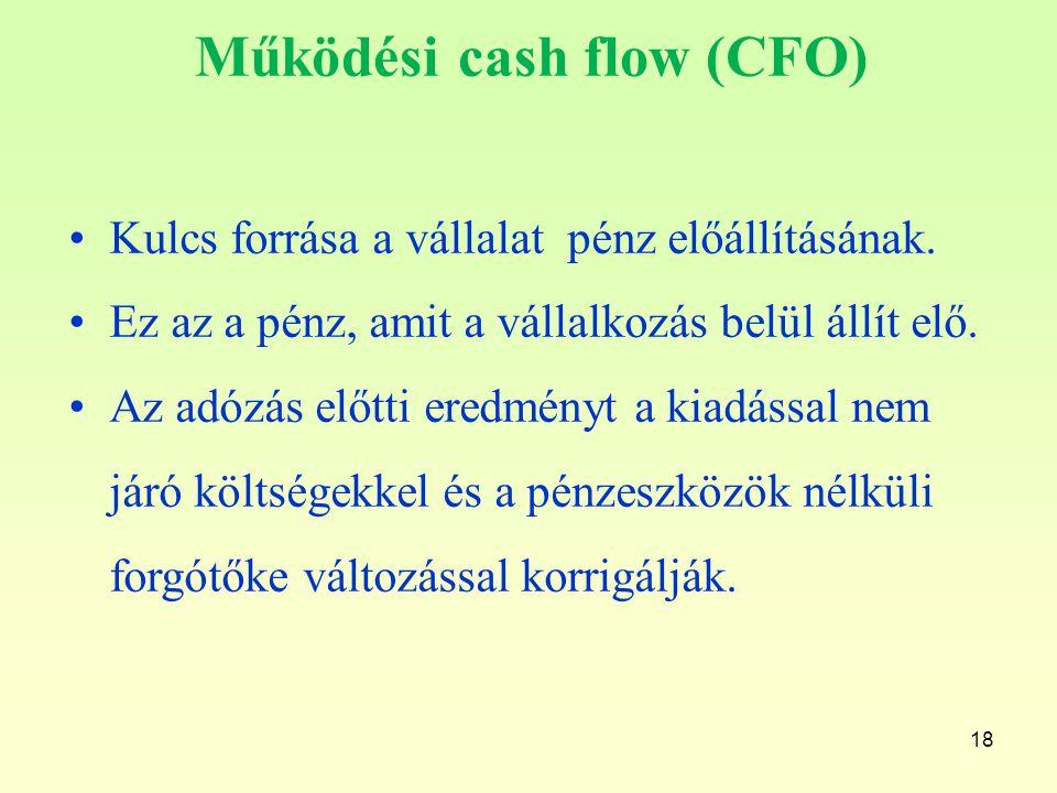 18 Működési cash flow (CFO) Kulcs forrása a vállalat pénz előállításának. Ez az a pénz, amit a vállalkozás belül állít elő. Az adózás előtti eredményt