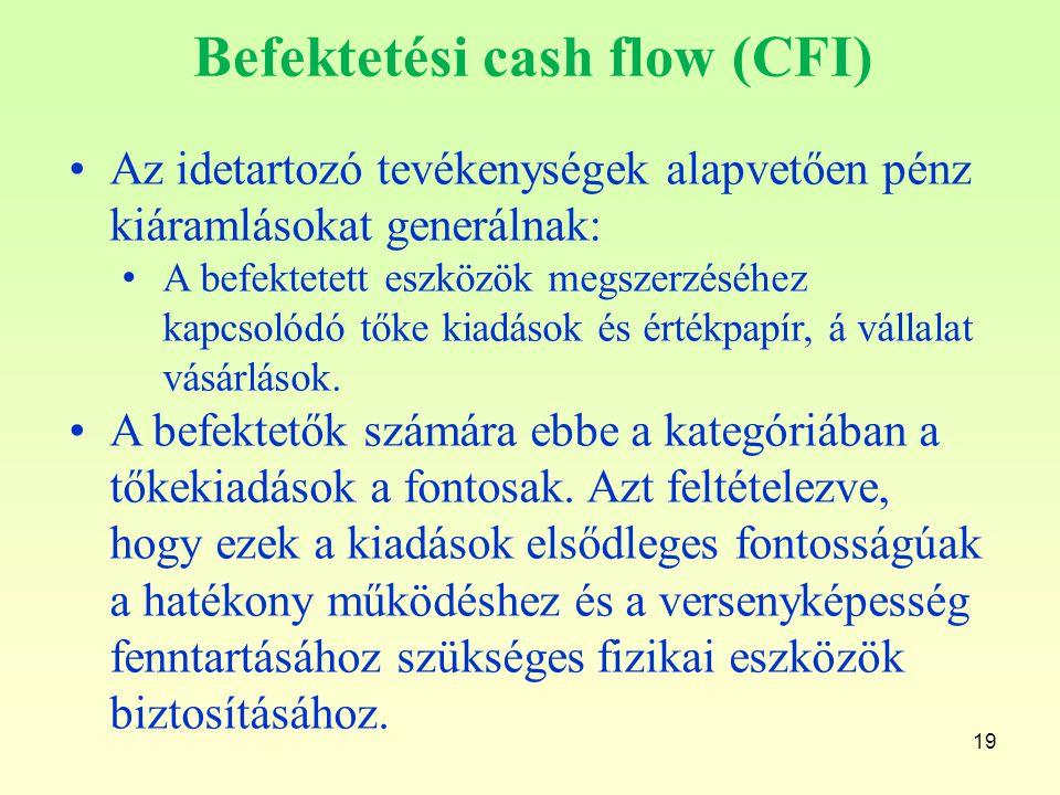 19 Befektetési cash flow (CFI) Az idetartozó tevékenységek alapvetően pénz kiáramlásokat generálnak: A befektetett eszközök megszerzéséhez kapcsolódó