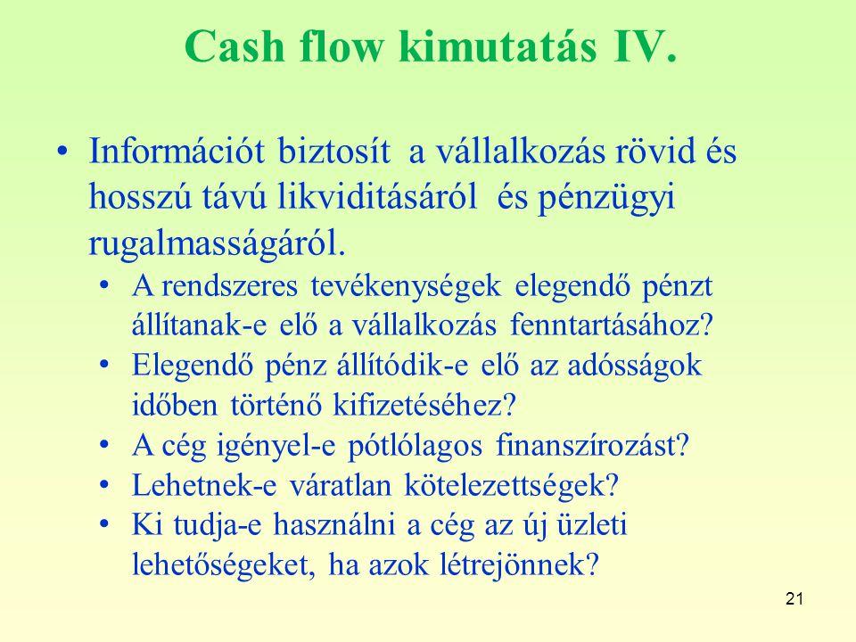 21 Cash flow kimutatás IV. Információt biztosít a vállalkozás rövid és hosszú távú likviditásáról és pénzügyi rugalmasságáról. A rendszeres tevékenysé