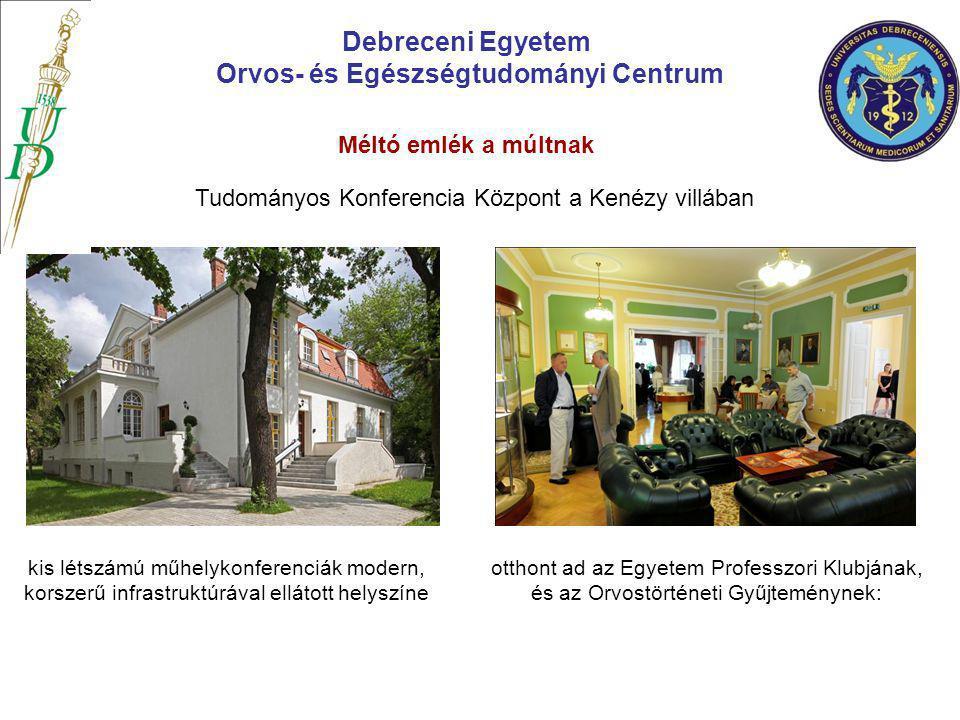 Debreceni Egyetem Orvos- és Egészségtudományi Centrum Tudományos Konferencia Központ a Kenézy villában otthont ad az Egyetem Professzori Klubjának, és