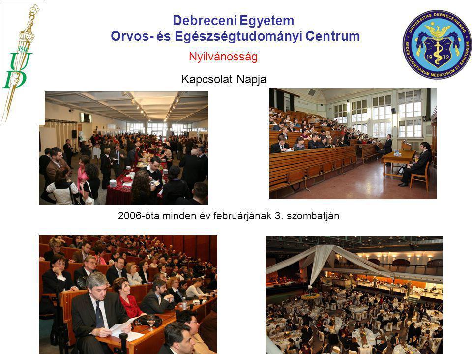 Debreceni Egyetem Orvos- és Egészségtudományi Centrum Kapcsolat Napja 2006-óta minden év februárjának 3. szombatján Nyilvánosság