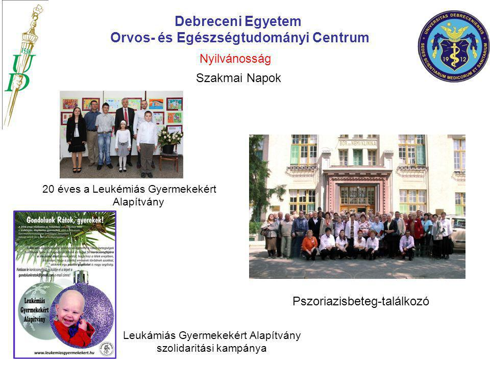 20 éves a Leukémiás Gyermekekért Alapítvány Debreceni Egyetem Orvos- és Egészségtudományi Centrum Pszoriazisbeteg-találkozó Leukámiás Gyermekekért Ala