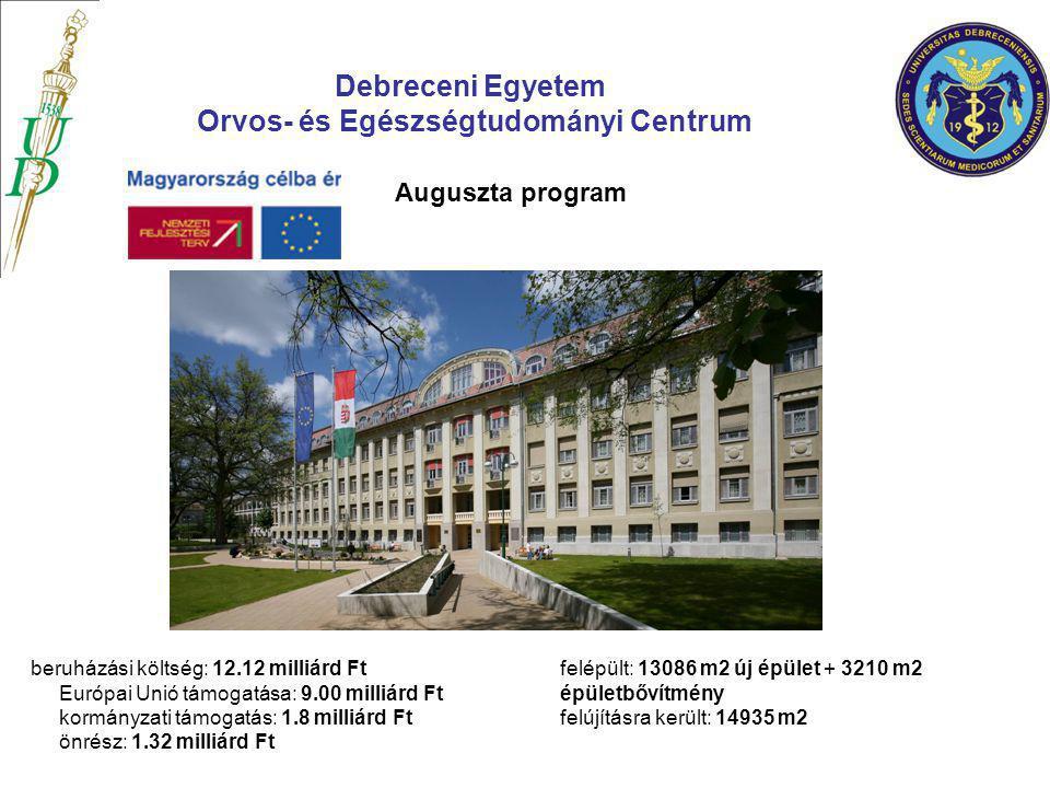 Debreceni Egyetem Orvos- és Egészségtudományi Centrum Auguszta program beruházási költség: 12.12 milliárd Ft Európai Unió támogatása: 9.00 milliárd Ft