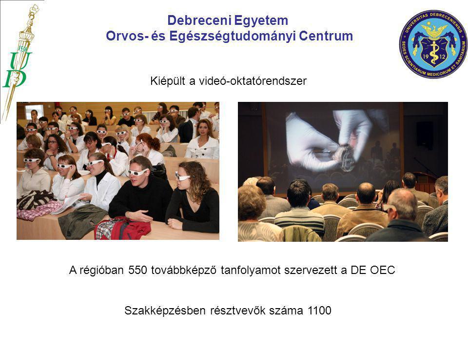 Debreceni Egyetem Orvos- és Egészségtudományi Centrum Kiépült a videó-oktatórendszer A régióban 550 továbbképző tanfolyamot szervezett a DE OEC Szakké
