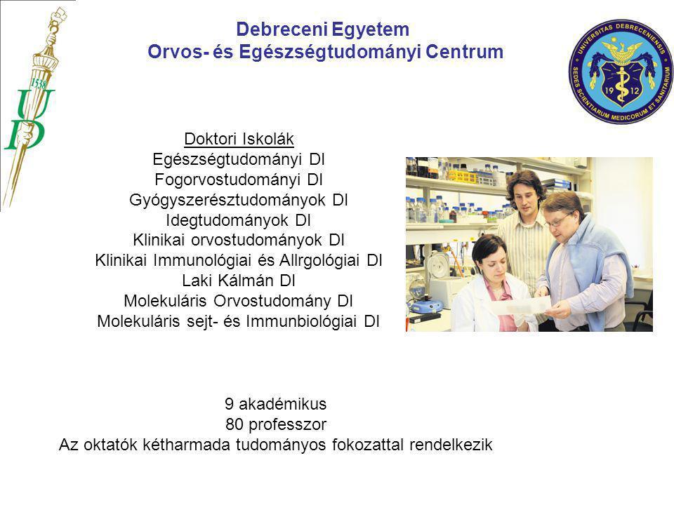 Debreceni Egyetem Orvos- és Egészségtudományi Centrum 9 akadémikus 80 professzor Az oktatók kétharmada tudományos fokozattal rendelkezik Doktori Iskol