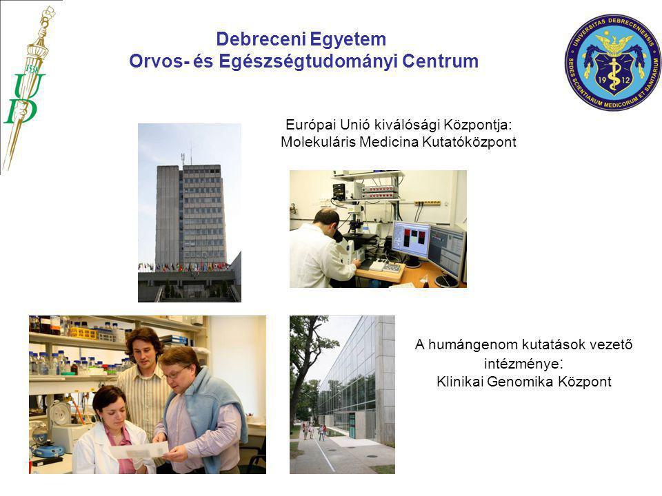 Európai Unió kiválósági Központja: Molekuláris Medicina Kutatóközpont Debreceni Egyetem Orvos- és Egészségtudományi Centrum A humángenom kutatások vez