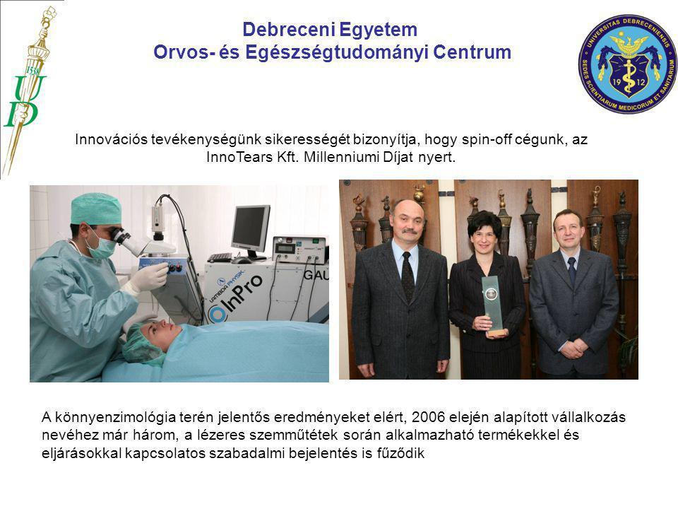 Debreceni Egyetem Orvos- és Egészségtudományi Centrum Innovációs tevékenységünk sikerességét bizonyítja, hogy spin-off cégunk, az InnoTears Kft. Mille