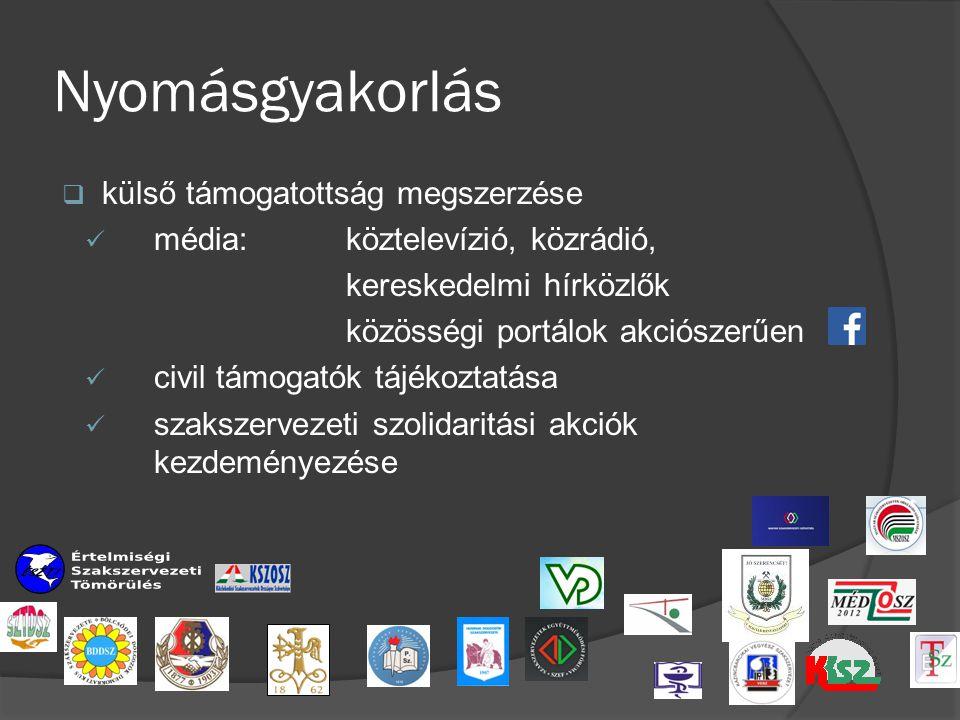 Nyomásgyakorlás  külső támogatottság megszerzése média: köztelevízió, közrádió, kereskedelmi hírközlők közösségi portálok akciószerűen civil támogatók tájékoztatása szakszervezeti szolidaritási akciók kezdeményezése