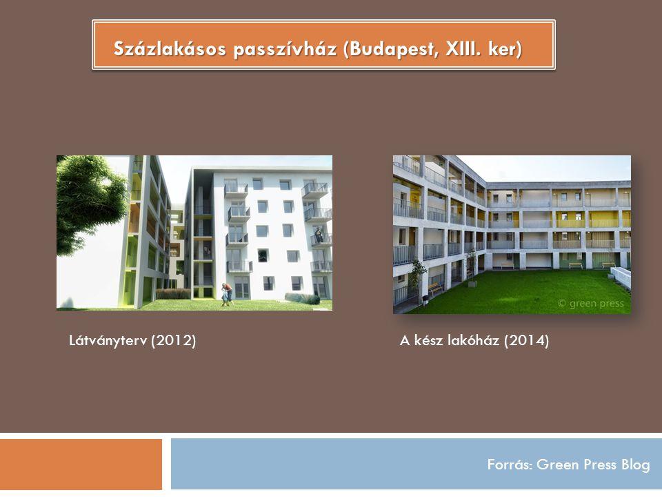 Forrás: Green Press Blog Százlakásos passzívház (Budapest, XIII. ker) Látványterv (2012)A kész lakóház (2014)