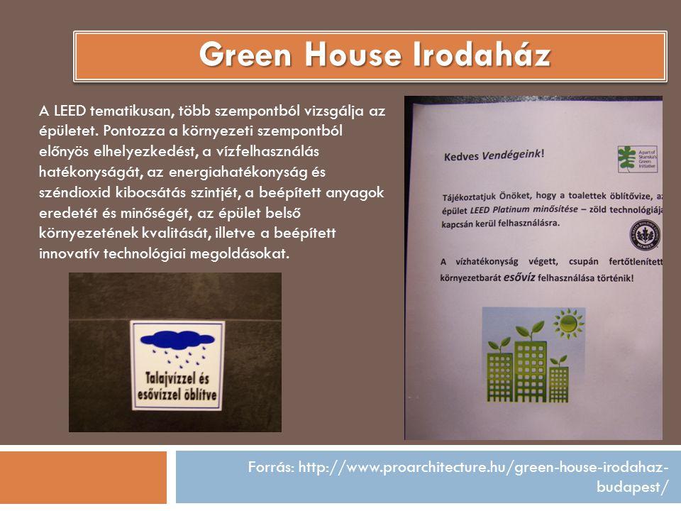 Forrás: http://www.proarchitecture.hu/green-house-irodahaz- budapest/ A LEED tematikusan, több szempontból vizsgálja az épületet. Pontozza a környezet