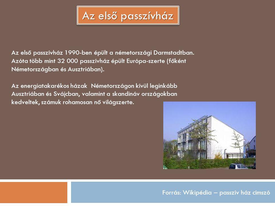 Forrás: Wikipédia – passzív ház címszó Az első passzívház Az első passzívház 1990-ben épült a németországi Darmstadtban. Azóta több mint 32 000 passzí