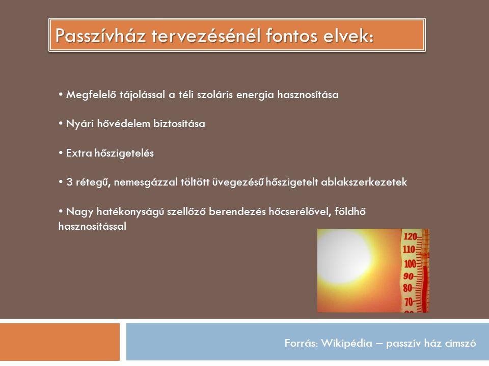 Forrás: Wikipédia – passzív ház címszó Passzívház tervezésénél fontos elvek: Megfelelő tájolással a téli szoláris energia hasznosítása Nyári hővédelem biztosítása Extra hőszigetelés 3 rétegű, nemesgázzal töltött üvegezésű hőszigetelt ablakszerkezetek Nagy hatékonyságú szellőző berendezés hőcserélővel, földhő hasznosítással