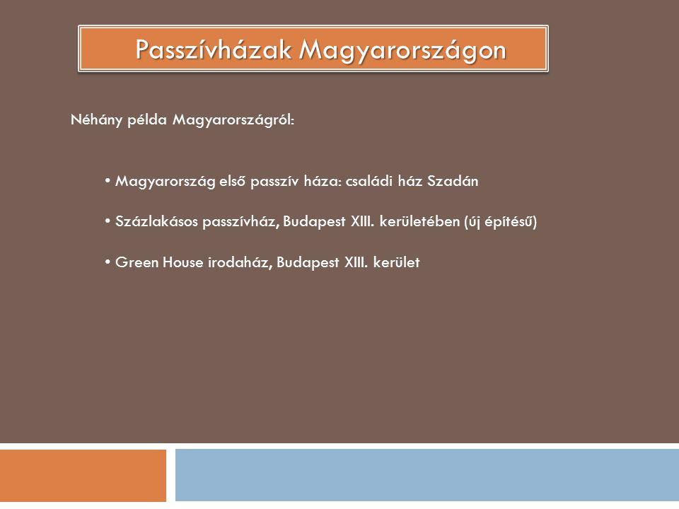 Passzívházak Magyarországon Néhány példa Magyarországról: Magyarország első passzív háza: családi ház Szadán Százlakásos passzívház, Budapest XIII. ke