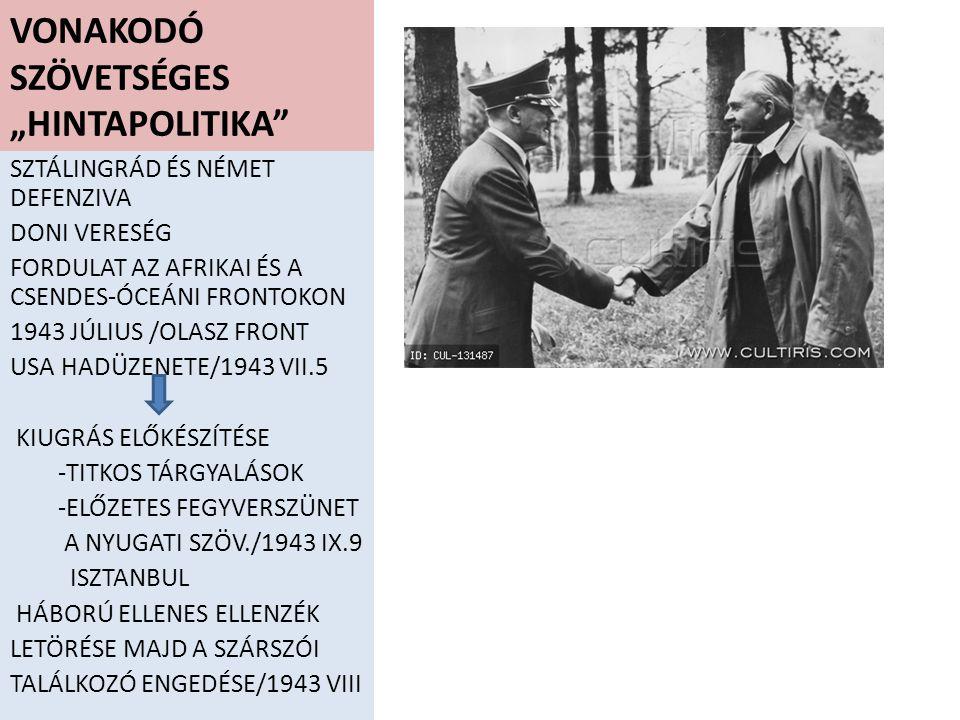 NÉMET MEGSZÁLLÁS KÜLSŐ HELYZET MEGVÁLTOZIK -OLASZ FRONT LELASSUL -TEHERÁNI DÖNTÉS/1943 XI.