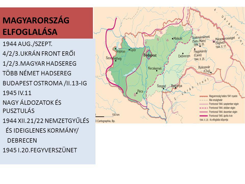 MAGYARORSZÁG ELFOGLALÁSA 1944 AUG./SZEPT. 4/2/3.UKRÁN FRONT ERŐI 1/2/3.MAGYAR HADSEREG TÖBB NÉMET HADSEREG BUDAPEST OSTROMA /II.13-IG 1945 IV.11 NAGY