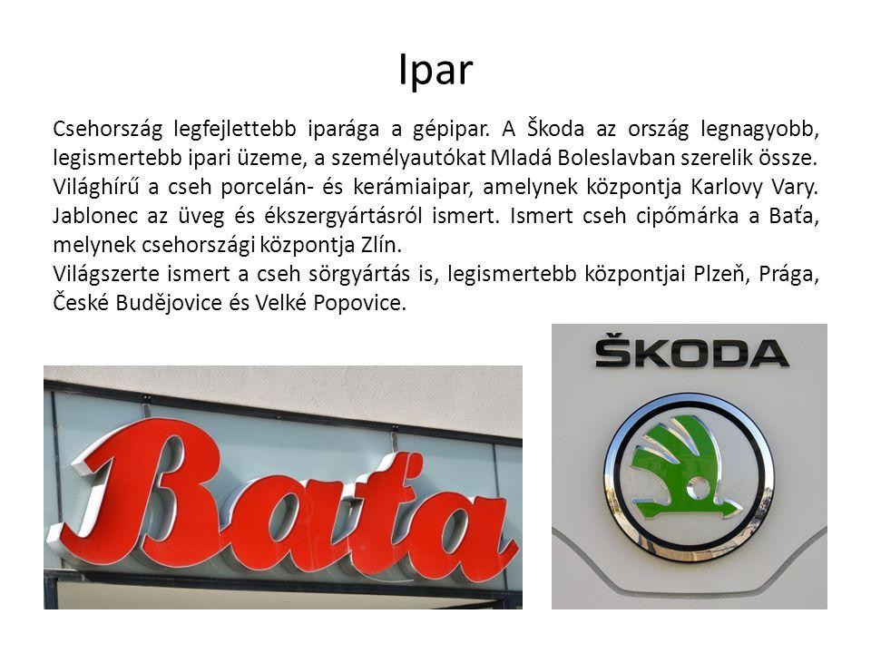 Csehország legfejlettebb iparága a gépipar. A Škoda az ország legnagyobb, legismertebb ipari üzeme, a személyautókat Mladá Boleslavban szerelik össze.