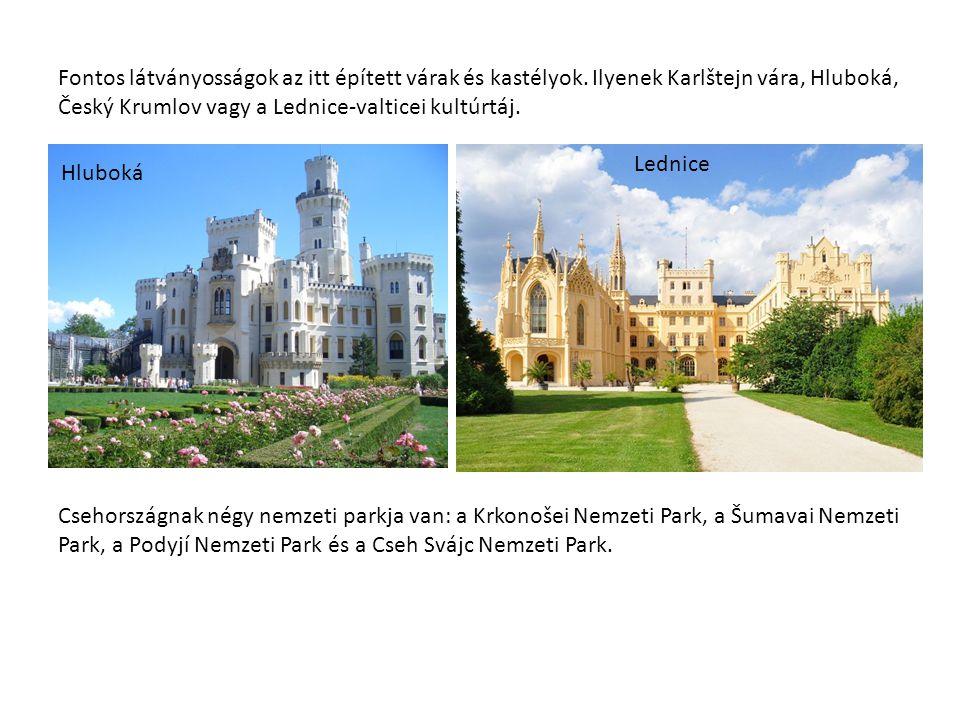 Fontos látványosságok az itt épített várak és kastélyok. Ilyenek Karlštejn vára, Hluboká, Český Krumlov vagy a Lednice-valticei kultúrtáj. Csehországn