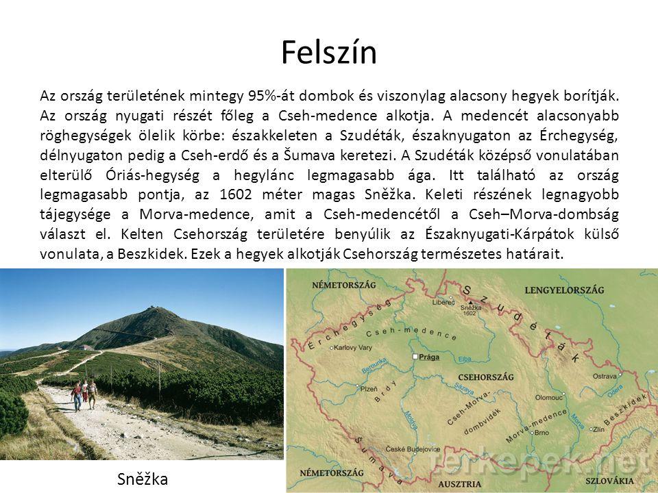 Felszín Az ország területének mintegy 95%-át dombok és viszonylag alacsony hegyek borítják. Az ország nyugati részét főleg a Cseh-medence alkotja. A m
