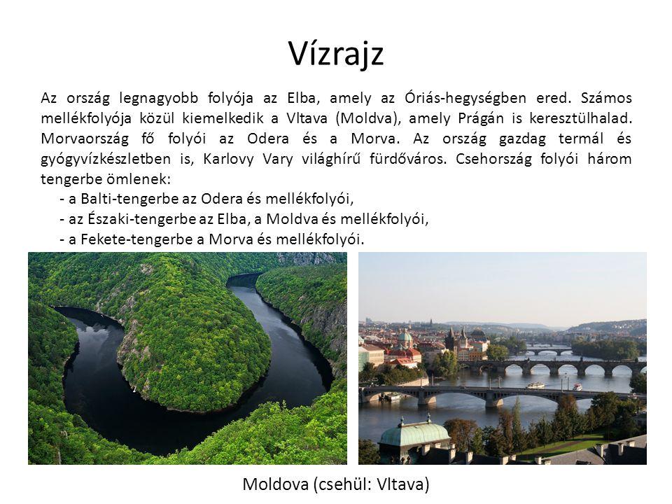 Vízrajz Az ország legnagyobb folyója az Elba, amely az Óriás-hegységben ered. Számos mellékfolyója közül kiemelkedik a Vltava (Moldva), amely Prágán i